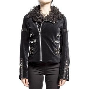 Tripp NYC Black Velvet Fur Collar Zipper Jacket